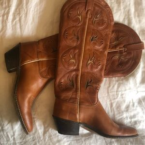 Vintage Acme Womens Brown Cowboy Boots 8